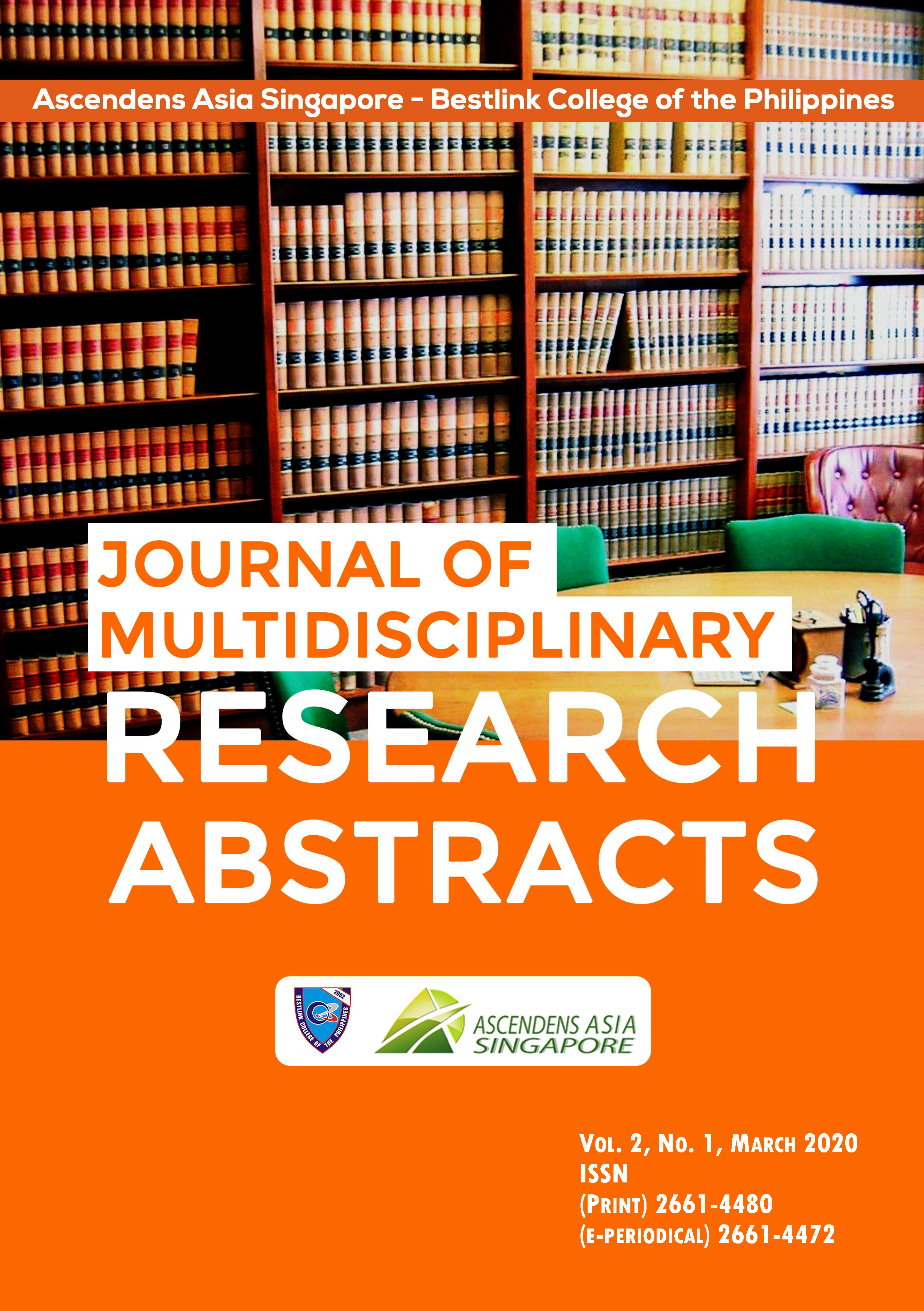 View Vol. 2 No. 1 (2020): Ascendens Asia Singapore – Bestlink College of the Philippines Journal of Multidisciplinary Research Abstracts, Vol.2, No1, March 2020